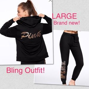 Vs Pink Large Matching Set Sequin Bling NEW
